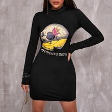 Kleid mit Schaedel & Buchstaben Grafik und Stehkragen