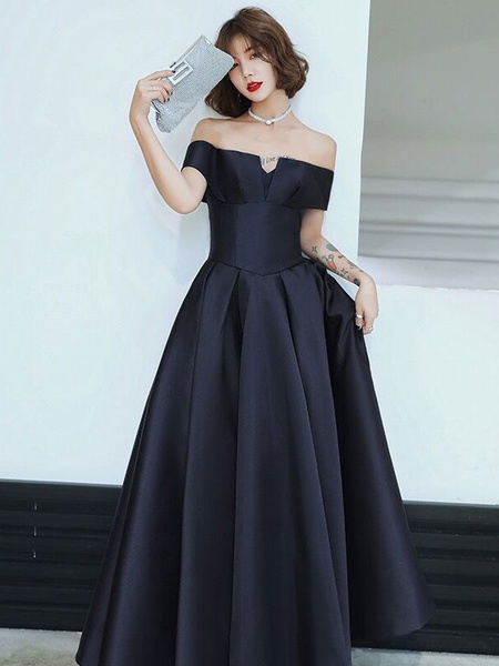 Milanoo Evening Dress A-Line Bateau Neck Matte Satin Floor-Length Pleated Formal Party Dresses