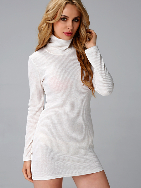 Yoins White Sexy Bodycon Rollneck Long Sleeves Mini Dress