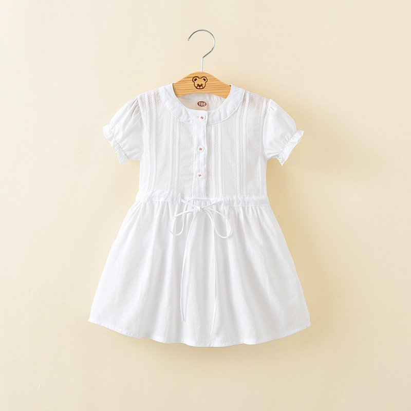 Comfy Soft Cotton Toddler Girls Short Sleeve Casual Dress For 2Y-9Y