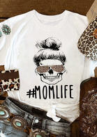Mom Life Leopard Printed T-Shirt Tee - White