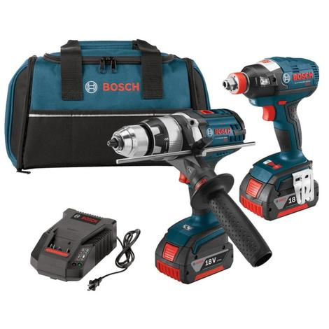 Bosch 18V 2-Tool Combo Kit with 1/4 In. and 1/2 In. Two-In-One Bit/Socket Impact Driver and Brute Tough 1/2 In. Hammer Drill/Driver