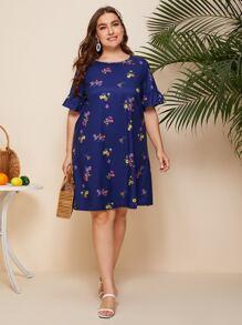 Plus Ruffle Cuff Floral Print Dress