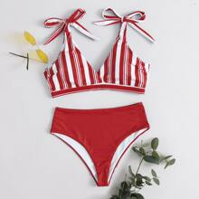 Striped Tie Shoulder Bikini Swimsuit