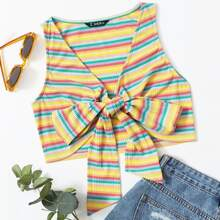 Tie Front Colorful Striped Rib-knit Tank Top