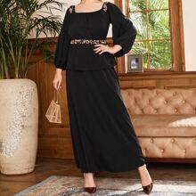 Combo A-Linie Kleid mit Kontrast Pailletten