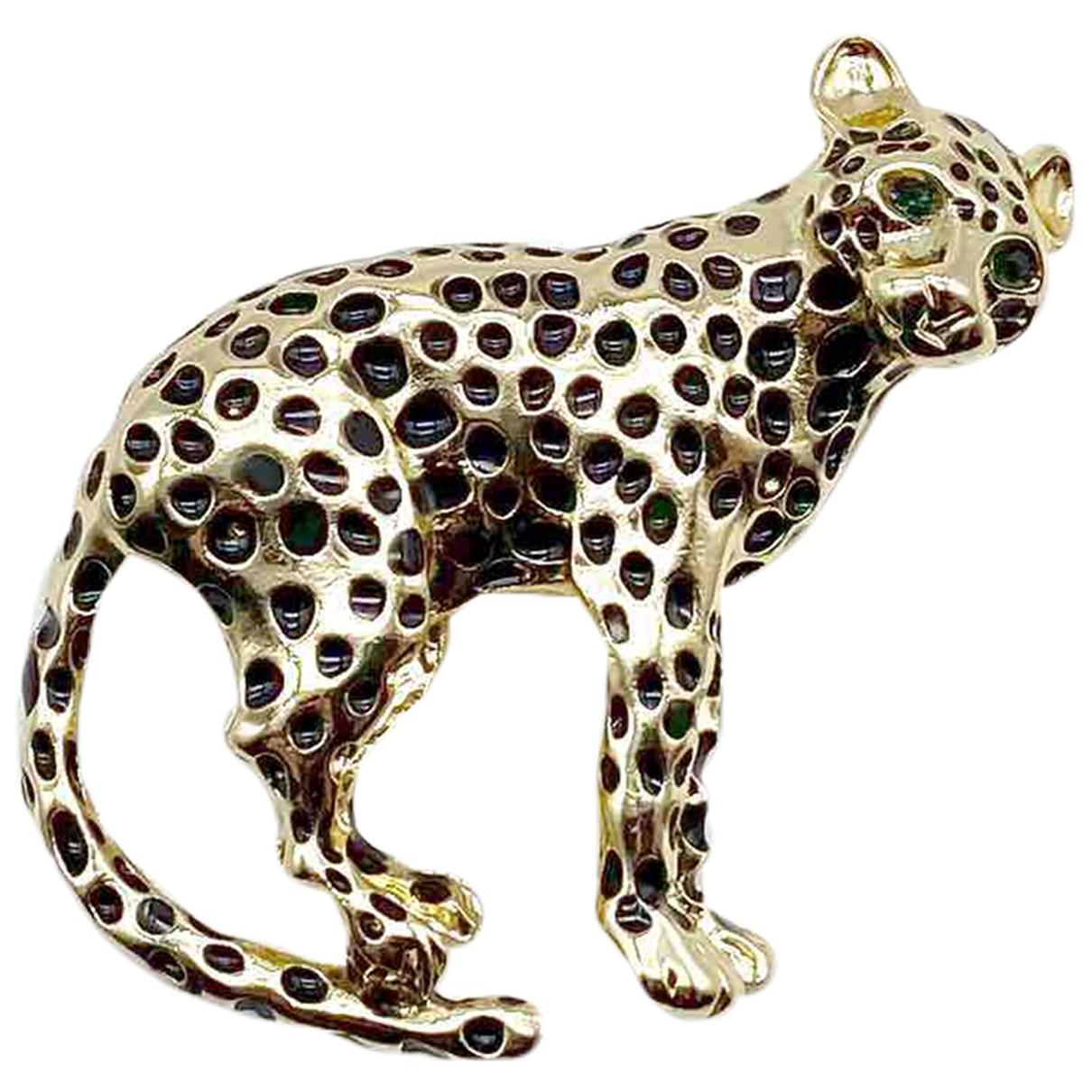 Broche Motifs Animaliers en Metal Dorado Non Signe / Unsigned