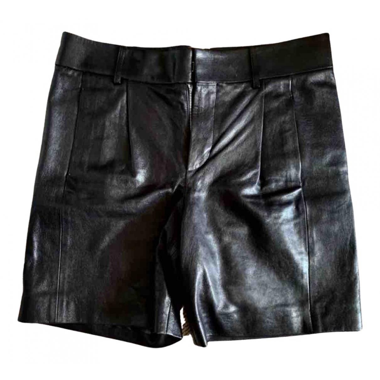 Saint Laurent \N Shorts in  Schwarz Leder