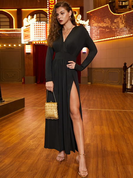 YOINS Black Pleated V-neck Long Sleeves High-Waisted Dress