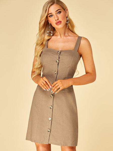YOINS Khaki Button Design Square Neck Sleeveless Dress