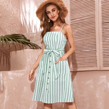 Pocket Patched Button Front Self Belt Striped Cami Dress