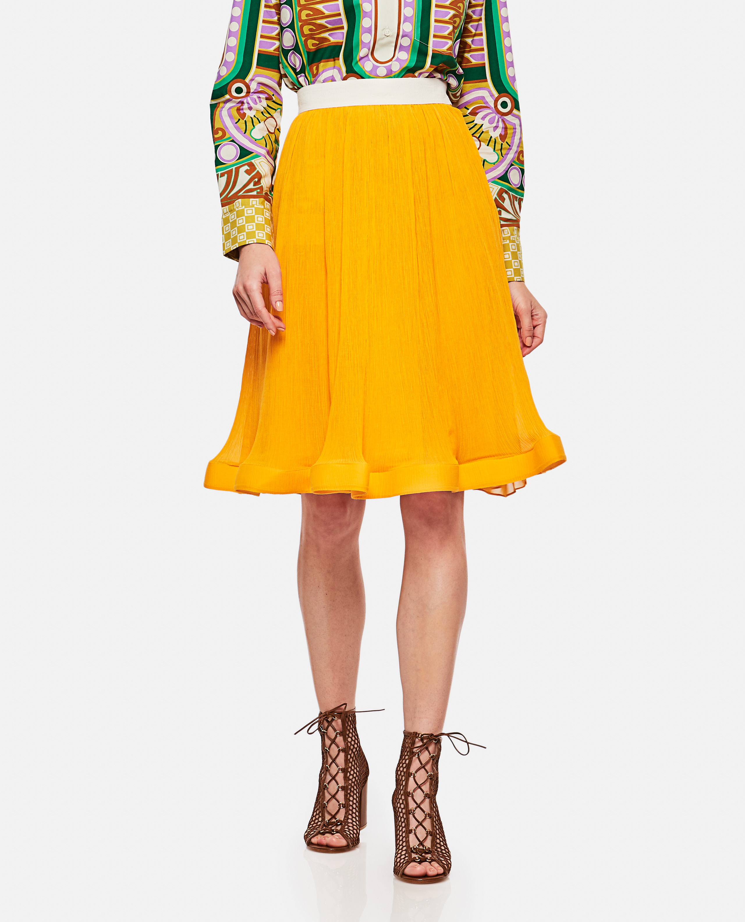 Pleated mixed cotton skirt