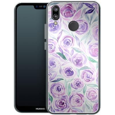 Huawei P20 Lite Silikon Handyhuelle - Purple Rose Floral von Becky Starsmore