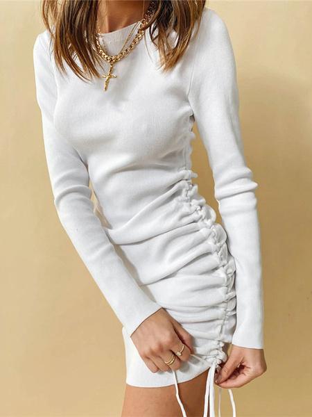 Milanoo Red Bodycon Dresses Women Jewel Neck Long Sleeve Drawstring Ruched Short Sheath Dress