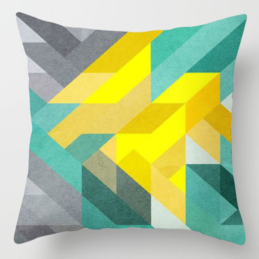 LW lovely Trendy Striped Yellow Decorative Pillow Case