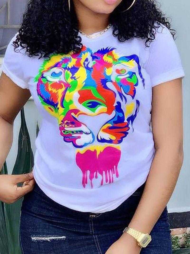 Ericdress Color Block Round Neck Slim T-Shirt