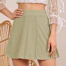 Binding Trim Rib-knit Flare Skirt