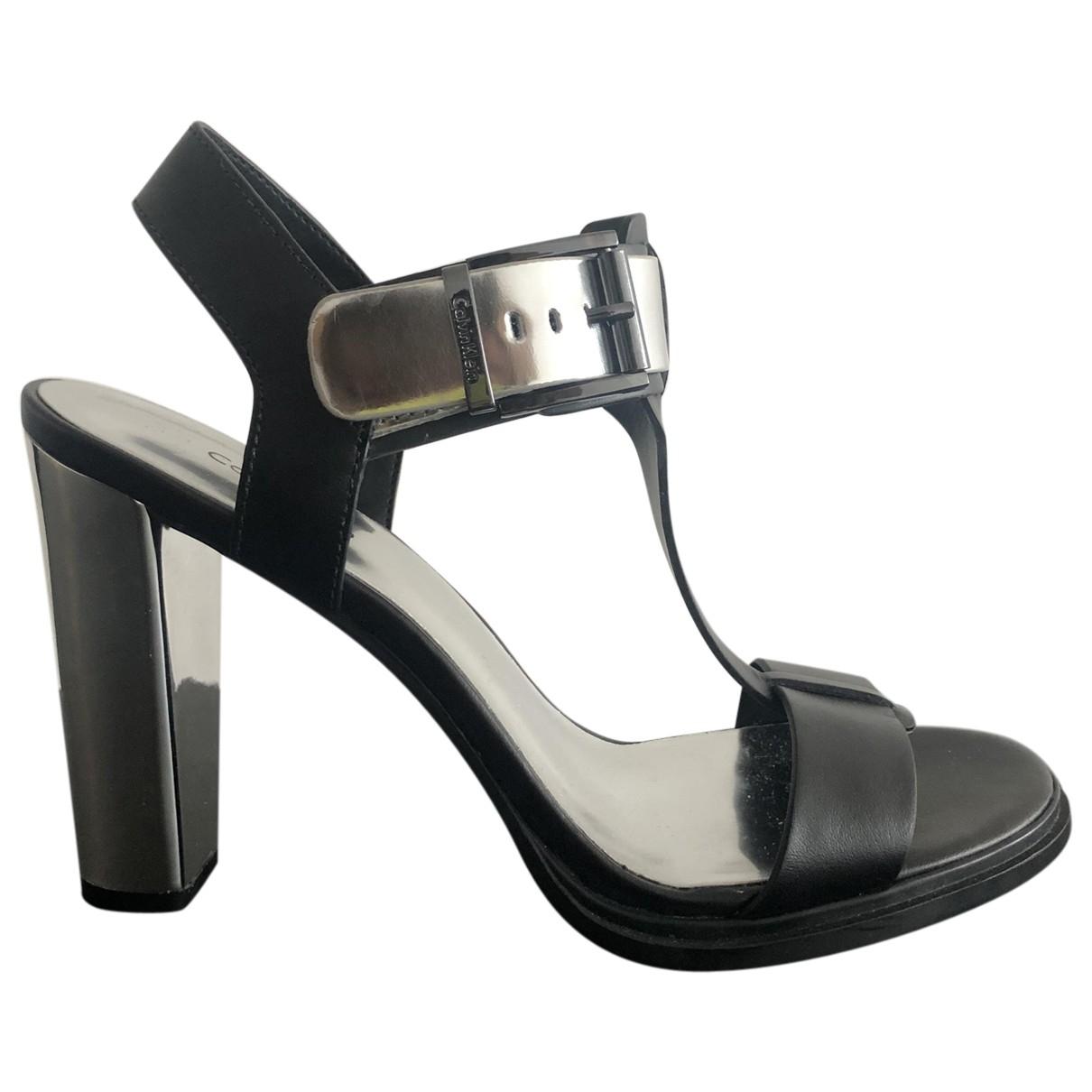 Calvin Klein - Sandales   pour femme en cuir - noir