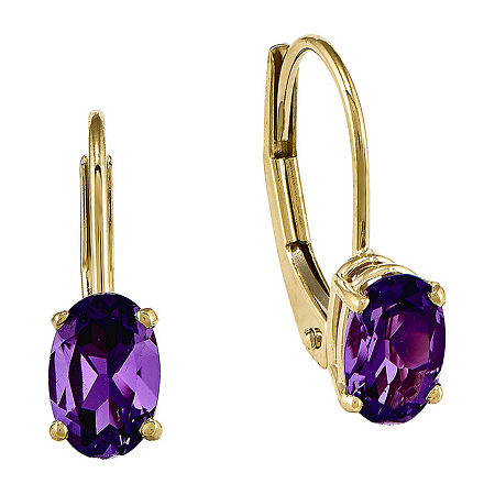 Genuine Amethyst 14K Yellow Gold Earrings, One Size , No Color Family