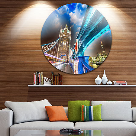 Design Art Night over Tower Bridge in London DiscCityscape Photo Circle Metal Wall Art, One Size , Blue