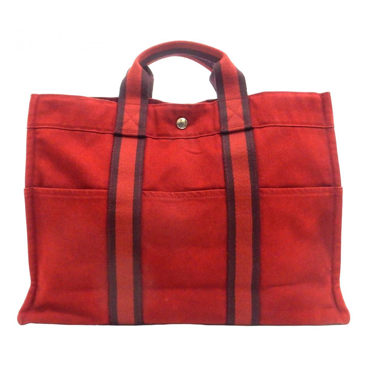 Hermes - Sac a main Toto pour femme en coton - rouge