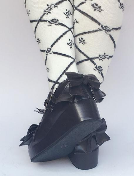 Milanoo Zapatos de lolita de PU de puntera redonda con lazo de azul francia