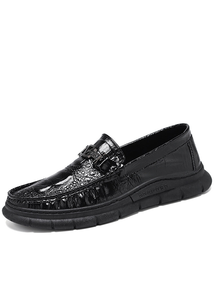 Men Crocodile Embossed Leather Slip-on Soft Casual Shoes
