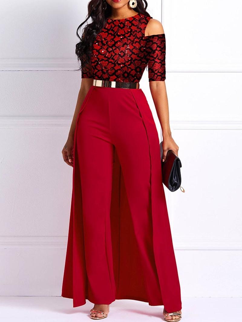 Ericdress Swallowtail Fashion Full Length Straight High Waist Jumpsuit