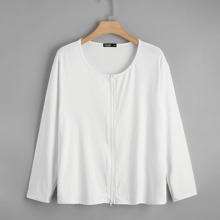 Camiseta con cremallera unicolor