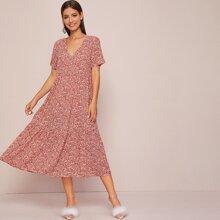 Ditsy Floral Print V-Neck A-Line Dress
