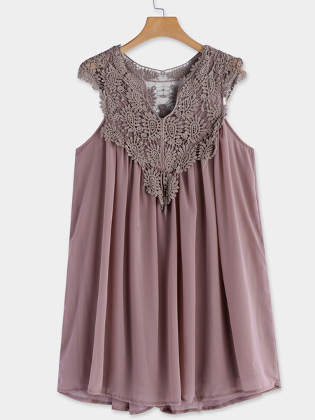 Yoins Coffee Crochet lace Insert Deep V-Neck Sleeveless Midi Dress