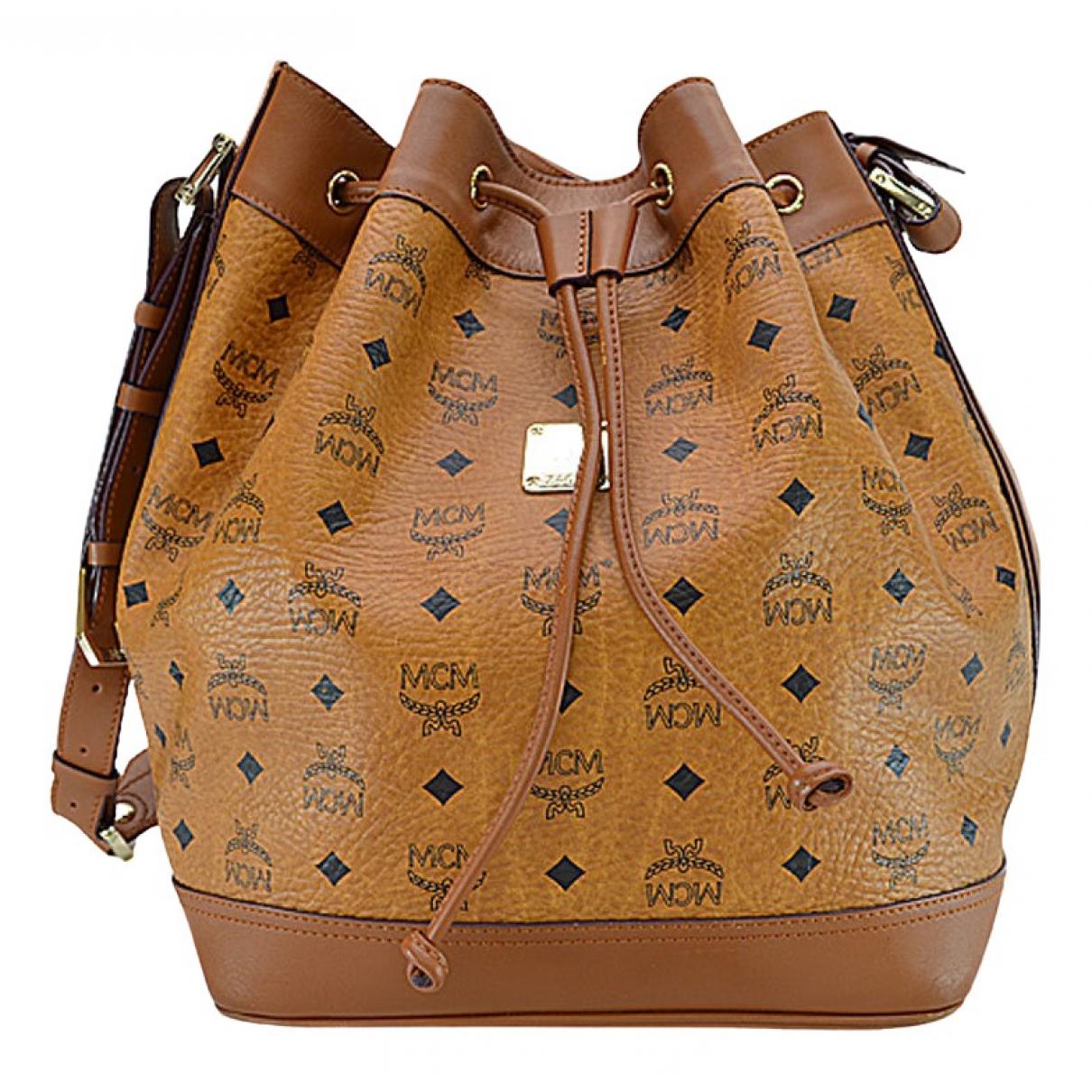 Mcm Heritage Drawstring Handtasche in  Braun Leder
