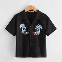 T-Shirt mit eingekerbtem Kragen und tropischen Muster