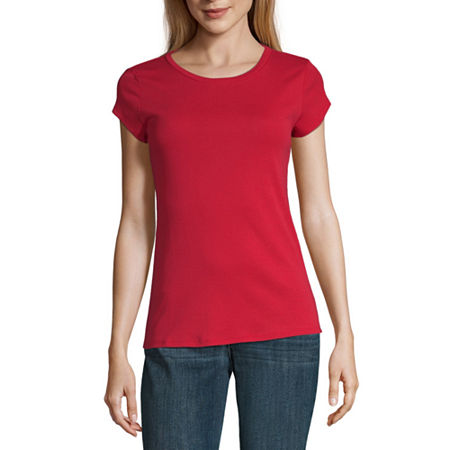 Liz Claiborne Short Sleeve Crew Neck Tee - Tall, Large Tall , Red