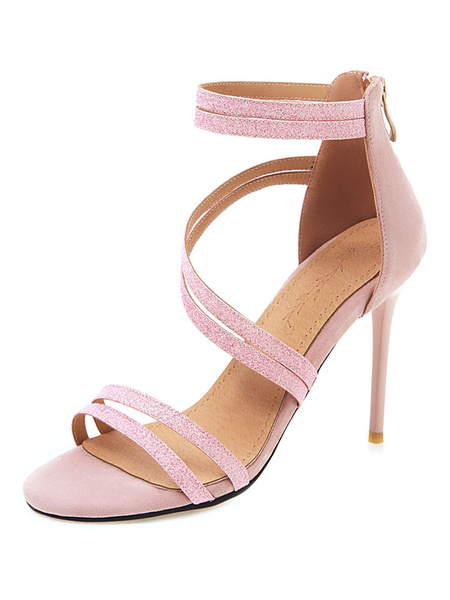 Milanoo Sandalias de tacon alto 2020 Zapatos de sandalias con tiras abiertas de color rosa Zapatos de fiesta para mujeres
