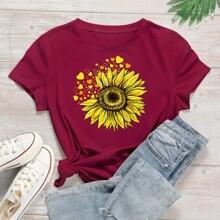 Sunflower And Heart Print Tee