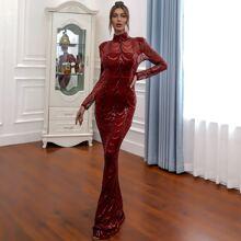 Mock-neck Sequin Mermaid Prom Dress