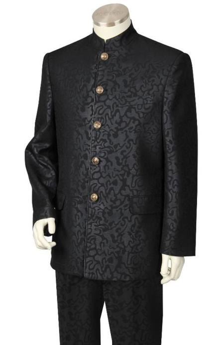Nehru jacketMens 2 Piece Nehru Suit Fancy Patterned Black
