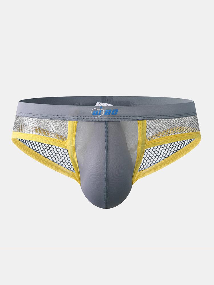 Men Mesh Hollow Out Breathable Briefs Pouch U Convex Low Rise Underwear