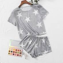 Space Dye Star Print Pajama Set
