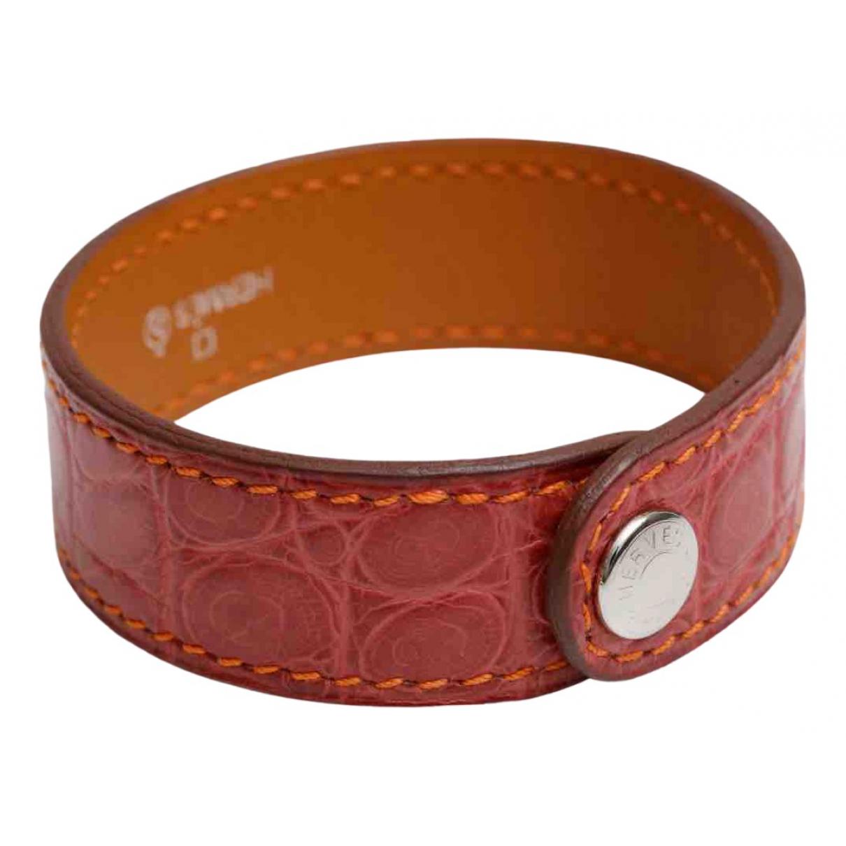 Hermes - Bracelet Petit H pour femme en crocodile - rose
