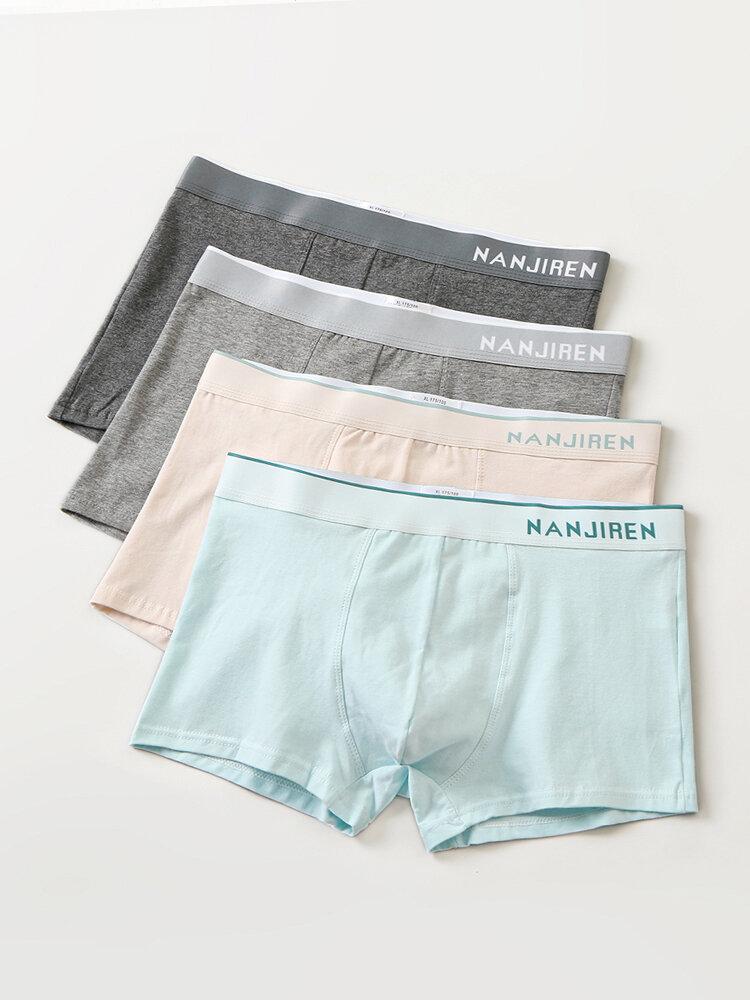 Mens Underwear Plain Color Multipacks Boxer Briefs Breathable 4 Color Gift Box Underpants