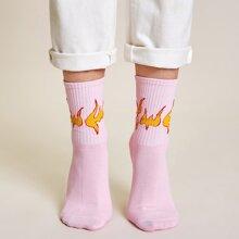 Calcetines patron fuego