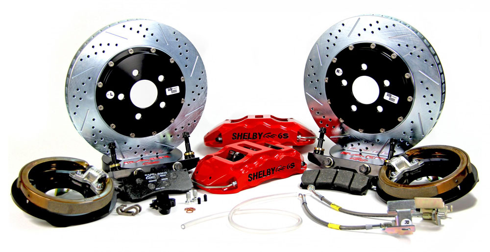Baer Brakes Brake System 14 Inch Rear Extreme+ with Park Brake Red 05-13 Mustang