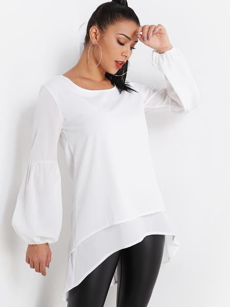 Yoins White Tiered Design Round Neck Lantern Sleeves Blouse With High-low Hem