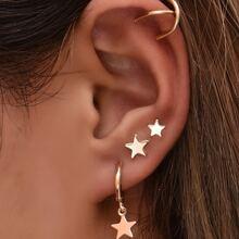 4pcs Star Decor Earrings