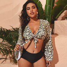 Plus Leopard Knot Front Bikini Swimsuit