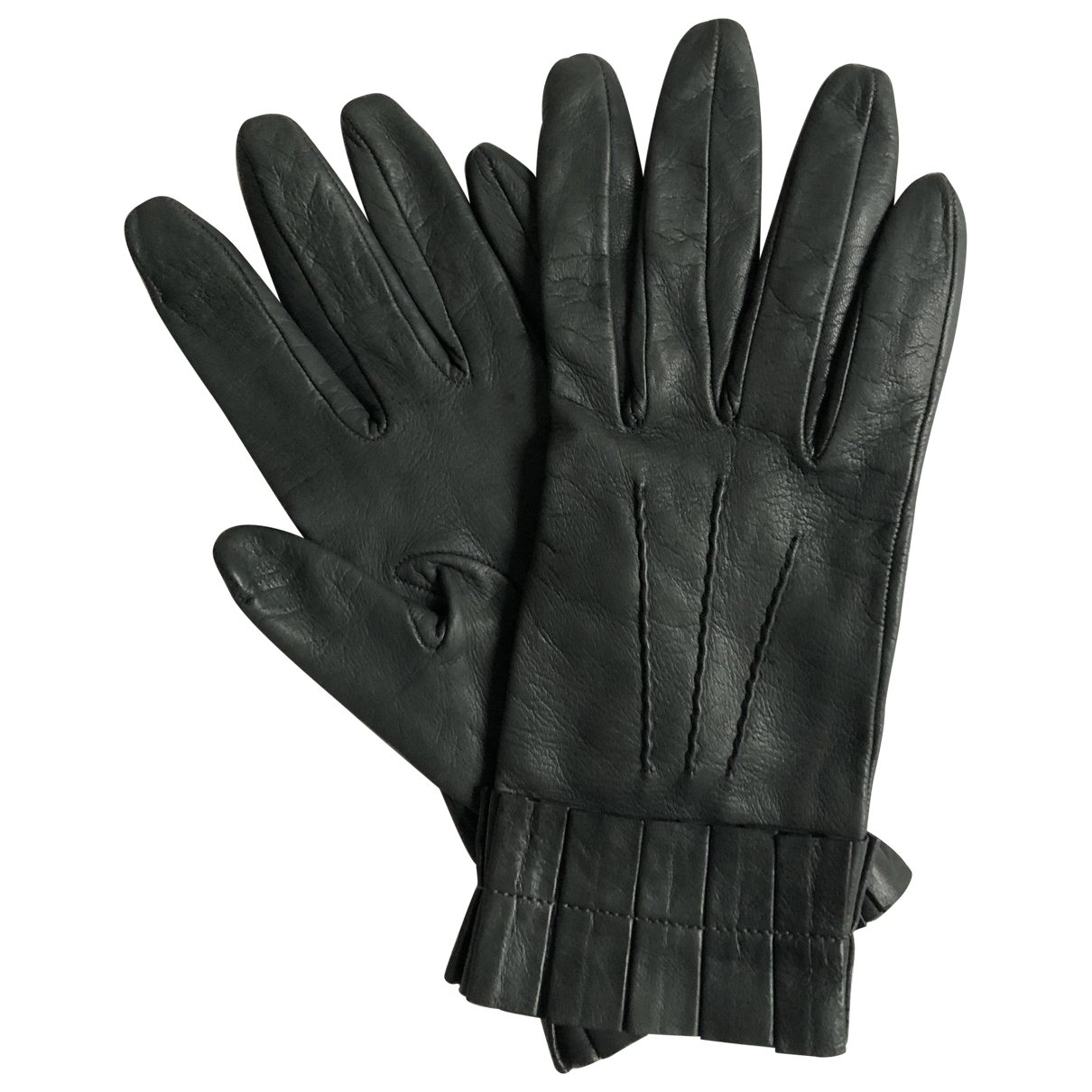 Miu Miu \N Grey Leather Gloves for Women 7 Inches