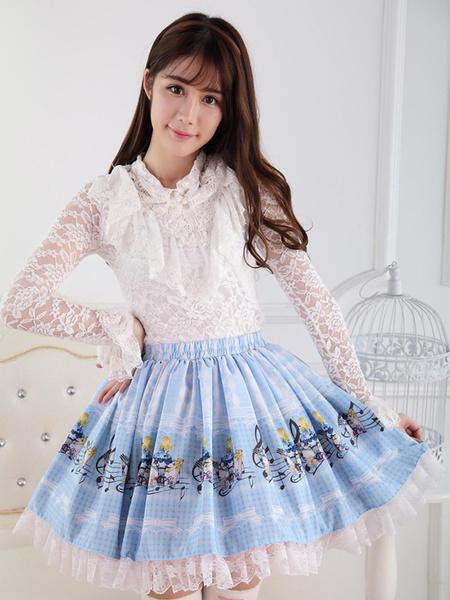Milanoo Falda de Lolita dulce de Angle Blue Lace Alice Concert