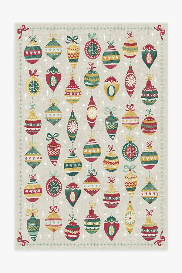 Washable Rug Cover & Pad | Festive Garland Holiday Shortbread Rug | Stain-Resistant | Ruggable | 6'x9'